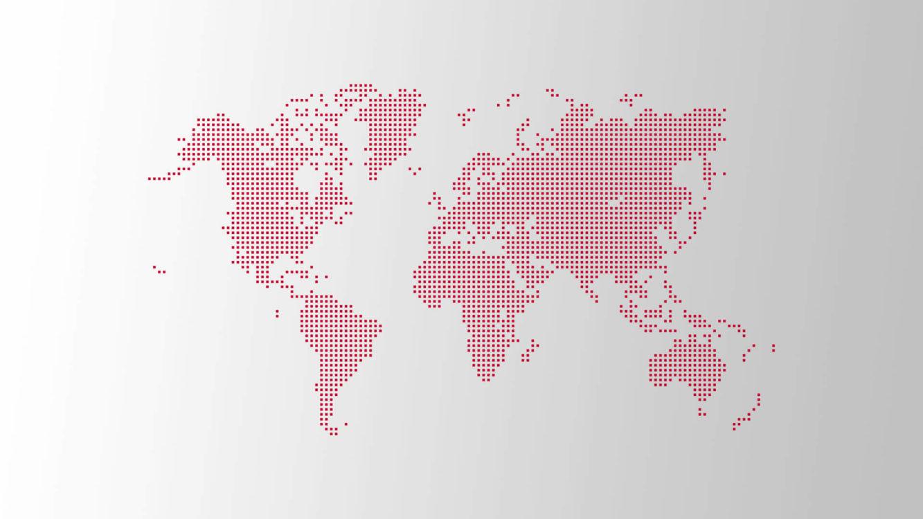 Eine Weltkarte aus roten Pixeln