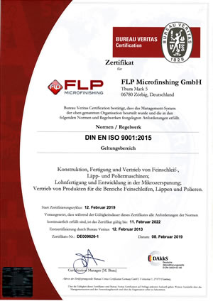 ISO Zertifikat der FLP Microfinishing GmbH